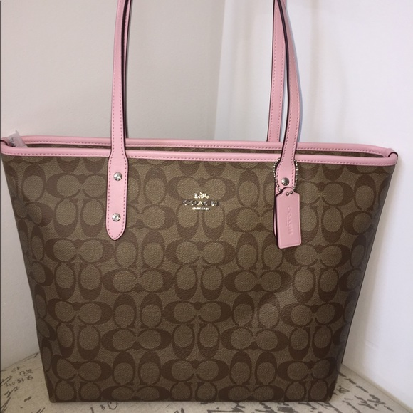 COACH Tote Purse Signature PINK 10a9f5216678d